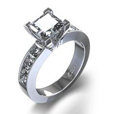 1 1/2 ctw Princess Cut Diamond Ring in 14K White Gold