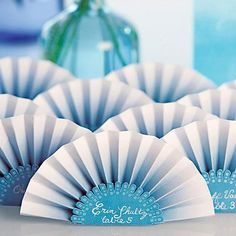Paper Fan Place Card Candy Apple Green (Pack of 12)