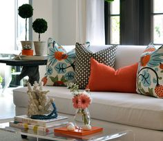 Elegant colorful cushions-pillow throw cover decor for your living room-furniture-interior design decor and accents idea! Living Room Decor Orange, New Living Room, Home And Living, Living Room Furniture, Room Colors, House Colors, Sofa Design, Interior Design, Aesthetic Room Decor