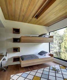 41 Adorable Floating Bed Design And Decorating Ideas For Sleeping Like In The Sky Bunk Beds With Stairs, Kids Bunk Beds, Loft Spaces, Small Spaces, Small Rooms, Kids Rooms, Triple Bunk Beds, Floating Bed, Floating Shelves
