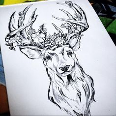Stag with flowers