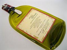 Flat Wine Bottle Wedding Invitation Preservation Platter Or Hanging Art