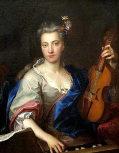 Young woman pl. the viola d'amore, Johann Kupezki (1667-1740), hungarian