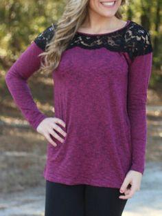 Lace Insert Purple Grey T-shirt