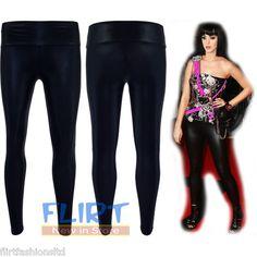 Womens Disco Pants Wet PVC Look High Waist Leggings Full Length Shiny Jeggings