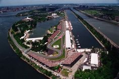 Aerial view over the Circuit Ile Notre Dame, situated on a man-made island in the centre of the St. Lawrence River in Montreal. Montreal, Canada, 2002.