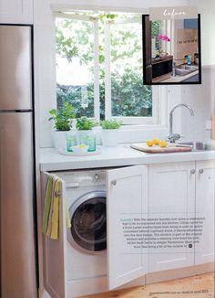 cupboard doors + hidden washing machine