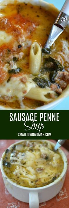 Sausage Penne Soup Soup Sausage Soup Pasta Soup Fall Soup Small Town Woman via Chili Recipes, Soup Recipes, Dinner Recipes, Cooking Recipes, Recipies, Sausage Recipes, Pasta Soup, Penne Pasta, Penne Noodles