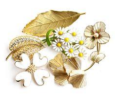 Vintage Flower & Leaf Brooch Lot  6 Gold Tone by MaejeanVINTAGE, $25.00
