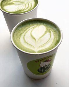 Morning Matcha @umami_matcha_cafe #matcha Japanese Dishes, Japanese Food, Honeydew Sorbet, Matcha Cafe, Coffee Art, Green Colors, Colours, Latte, Tableware