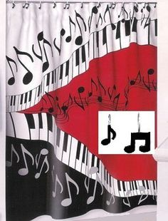 """Music Shower Curtain Set - Contains 1 70""""x72"""" Shower Curtain and 12 Matching Resin Decorative Hooks - Piano Jazz Notes Red Black by Creative Bath, http://www.amazon.com/dp/B00B2NCUZW/ref=cm_sw_r_pi_dp_aV9gsb0XY1DC2"""