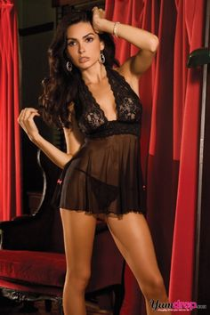 Lace and Mesh Halter Babydoll < Lingerie Sets < Lingerie < YumDrop, Inc.