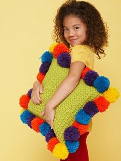 Bernat Super Value Pompom-Edged Pillow - Brighten up kids' rooms and play areas with this fun #pompom pillow!