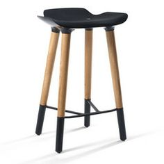Shop M241 Pilot Counter Stool in Black. It is crafted with tapered wooden legs and sexy black footrests and trim.Very classy and modern.Find it here http://meelano.com/products/m241-pilot-counter-stool-in-black
