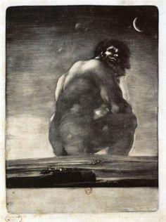 Colossus - Francisco Goya (18ème siècle, espagnol, mort à Bordeaux) Style: Romanticism Genre: mythological painting Cette oeuvre n'est pas de Goya !
