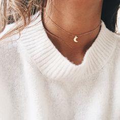 Gold Crescent Chain Choker
