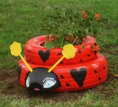 garden ladybug made from car tires