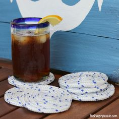 DIY Nautical Rope Outdoor Coasters how to at thehappyhousie.com