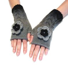 Gray Fingerless Gloves with cable pattern and crochet flowers, Wool Mittens, Arm Warmers , Hand Knitted, Eco Friendly