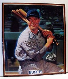 1989 lou #gehrig #baseball great old #busch beer sign,  View more on the LINK: http://www.zeppy.io/product/gb/2/220785208427/