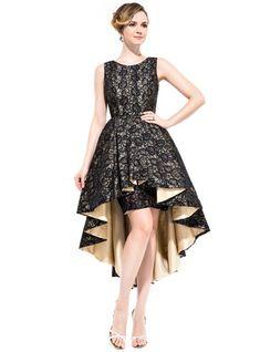Vestidos princesa/ Formato A Decote redondo Assimétrico Renda Vestido de cocktail com Pregueado