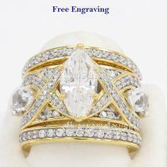 14k Yellow Gold 6.10 Ct Marquise Diamond Engagement Wedding Band Ring Bridal Set #Silvergemsjewelry #WeddingEngagementAnniversaryValentinesGift