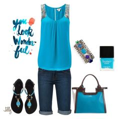 """Turquoise"" by jillgrimm ❤ liked on Polyvore featuring J Brand, Monsoon, Giuseppe Zanotti, Juicy Couture, Smythson and Butter London"