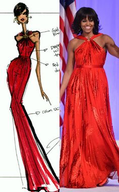 Michelle Obama's Jason Wu Dress for the 2013 Inaugural Ball—See the Original Sketch!  Michelle Obama, Jason Wu Sketch