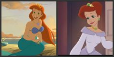 Of all her daughters, Athena is most closely resembled by Ariel. This is most obvious in The Little Mermaid II: Return to the Sea, roughly 23 years following the film's events, when Ariel has matured and become a mother herself. It is possible that the animators of Athena based her appearance on the mature version of Ariel. Beautiful.
