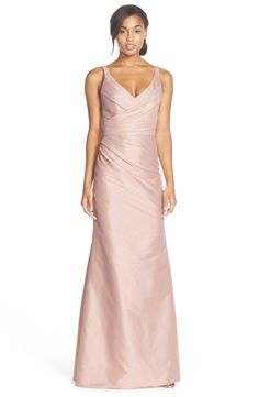 Worn At Etienne and Sarah's Wedding  Jim Hjelm Occasions V-Neck Draped Dupioni Trumpet Gown