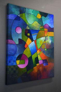 Gran arte abstracto impresión de Giclee en lona de mi
