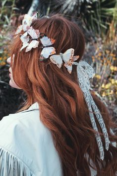 please note: the current made to order time frame is 6 weeks ☾ ☆☽ Pastel hues come together to create this magical butterfly crown. Complete with four hair clips and an optional lace ribbon closure in
