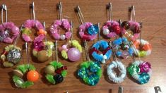 SWAPS - My first grader made these for a Girl Scout swap. Pipe cleaners, beads, and pins. Cute and easy for her to do.