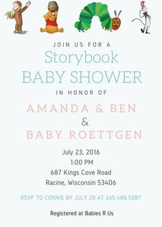 Storybook Baby Shower Invitation Click through to have yours customized or re-pin for later!