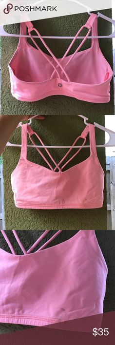 SZ 4 LULULEMON BRA Pretty pink & size 4 // There is a small stain from a barbell on this bra - Please see photo 2 & 3. lululemon athletica Intimates & Sleepwear Bras