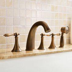 Antique Brass 5 Hole Deck Mount Bathroom Roman Tub Faucet with Hand Shower Set
