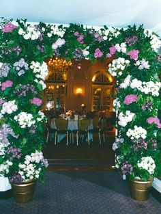 Floral Arch leading into The Ballroom at The Savoy Hotel in London