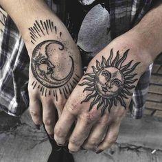 hand tattoos of moon and sun Sun Moon Tattoo by Meagan Blackwood Hand Tattoos, Elbow Tattoos, Body Art Tattoos, Tattoo Drawings, Sleeve Tattoos, Badass Tattoos, Tattoos Skull, Moon Sun Tattoo, Sun Moon