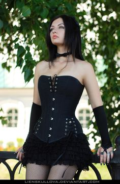 STOCK - Girl in Black Corset