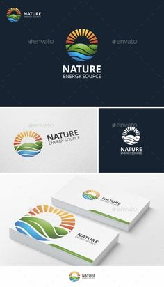 Nature Energy logo Re-sizable vector 100 Editable text Easily customizable colors AI & EPS documents For any modifi Letterhead Template, Logo Design Template, Logo Templates, Nature Green, Nature Nature, Solar Logo, Logo Branding, Branding Design, Landscaping Logo
