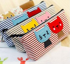 Children cute pencil case /Cat pencil case/ small pouch/  pencil bag with zipper pouch. $5.50, via Etsy.