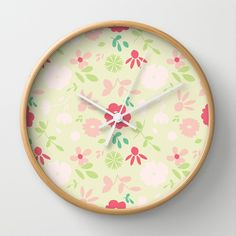 Floral - Wall Clock by Sunshine Inspired Designs