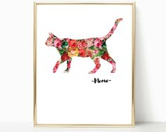 A fun and super girly print from www.iknowimperfect.com    Add a touch of kitty loving style to your home with this gorgeous floral cat print!