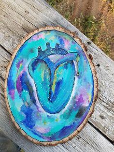 Galaxy heart art moon child art wood home decor celestial