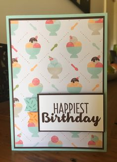 Sundae Card for Freshly Made Sketches FMS274 • Pool Party base 8 1/2 x 5 3/4 • Chocolate Chip 5 1/2 x 3 7/8 • Tasty Treats DSP 5 3/8 x 3 3/4 • Whisper White 2 5/8 x 1 1/2 • Chocolate Chip 2 3/4 x 1 5/8 • Pool Party & Peekaboo Peach strips • Cool Treats stamps • Inks: Chocolate Chip, Pool Party, Peekaboo Peach • dimensionals • Stampin' Up!