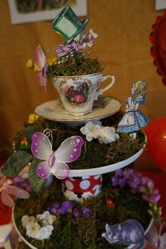 Alice in Wonderland tea party luncheon decorations! See more party ideas at CatchMyParty.com!