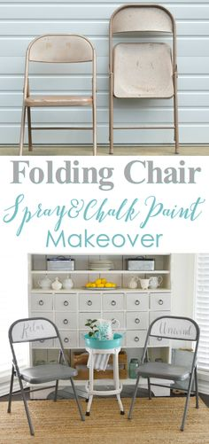 She bought old metal folding chairs from the thrift store, and made them over with a little spray paint and some hand lettered messages. Relax & Unwind. Great for low cost, space saving, extra seating!