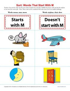 """Sort the Words That Start With The Letter M - Printable Worksheet Lesson Activity - What starts with """"M"""" and what doesn't? Your youngster will sort the cards into the correct piles. Play the game with one set or many; either way, it's a fun game! While it's compatible with Common Core Standards for Language for kindergarten and 1st grade, you may use it with other students as needed."""