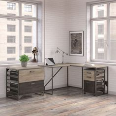 Carbon Loft Plimpton Desk with Return and File Cabinets in Rustic Grey (Grey Finish), Gray Black Office Furniture, Grey Furniture, Furniture Decor, Living Room Furniture, Furniture Dolly, Soho, L Shaped Desk, Farmhouse Wall Decor, Furniture For Small Spaces