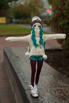 bjd, blue hair, doll, so cute, warm, women